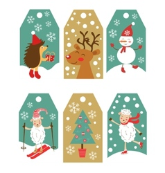 Colorful Christmas gift tags vector image
