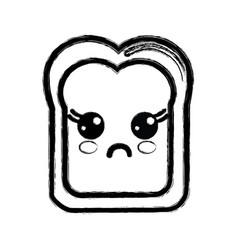 Contour kawaii cute surprised bread icon vector