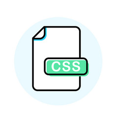 css file format extension color line icon vector image
