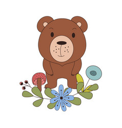 Cute animal in cartoon style woodland bear with vector