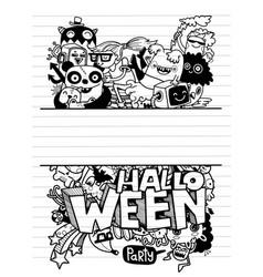 Cute hand-drawn halloween doodles vector