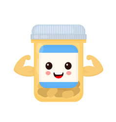 cute happy smiling strong medicine vector image
