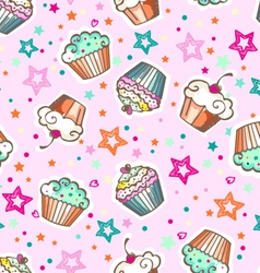 cute pink cupcakes vector image