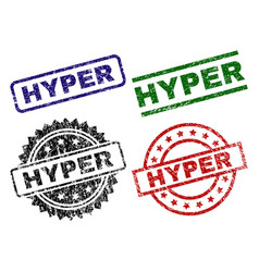 Damaged textured hyper seal stamps vector