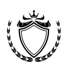 decorative shield crown laurel heraldry victorian vector image