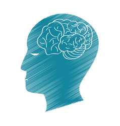 Drawing blue profile head brain idea vector