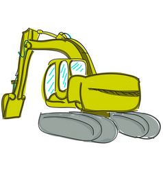 Drawn digger on white vector