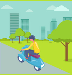 Driver man character on scooter in city vector