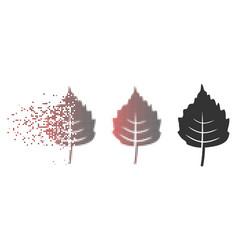 Dust pixel halftone birch leaf icon vector