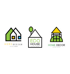eco house design logo templates collection real vector image