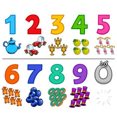 Educational cartoon numbers collection vector