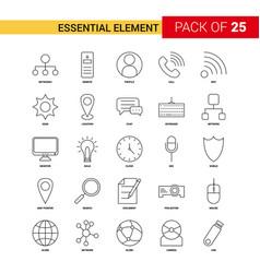 essential element black line icon - 25 business vector image