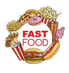 fast food meals and snacks sketch frame vector image