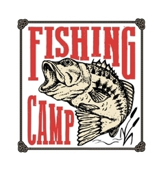 Fishing camp hand drawn bass fish vector