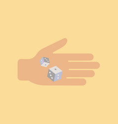 Flat icon on stylish background poker dices hand vector