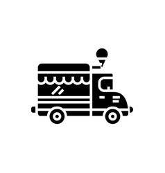 food track - ice cream car icon vector image