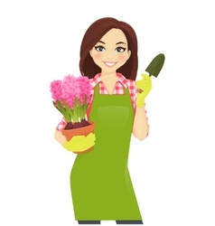 Gardening woman vector image vector image