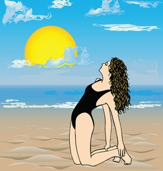 Girl on the beach- vector image