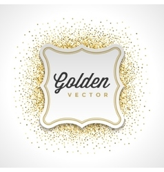 Gold Glitter Sparkles Bright Confetti White Paper vector