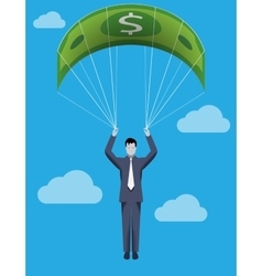 Golden parachute business concept vector