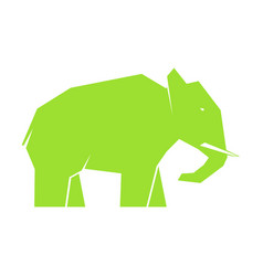 Green elephant isolated on white vector
