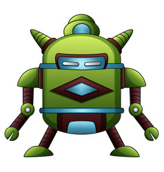 Green robot cartoon isolated on white background vector