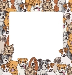 Group color dogs empty frame border vector