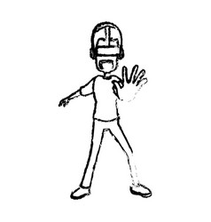 Guy character wearing vr headset standing vector