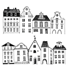 Hand drawn houses borders vector