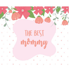 happy mothers day flowers border decoration dots vector image
