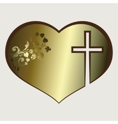 Heart with cross gold tone vector image