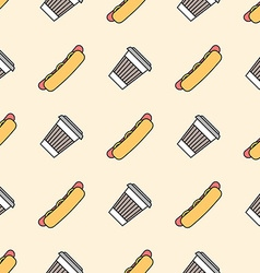 Hot dog coffee hot paper cup colored outline vector
