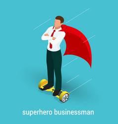 Isometric superhero concept handsome businessman vector