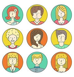 Linear People Icons vector