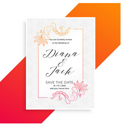 lovely floral wedding invitation card design vector image