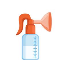Manual breast pump with breast milk vector