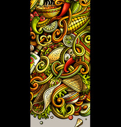Mexican food hand drawn doodle banner cartoon vector