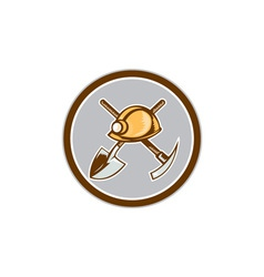 Miner hardhat spade pick axe circle retro vector