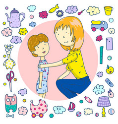 mom is talking to her son icons toys household vector image