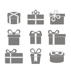 monochrome icon set with gift box vector image