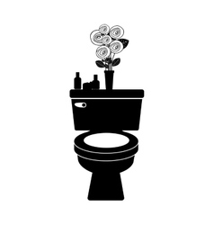 Monochrome toilet with decorative vase vector