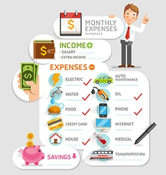 Monthly expenses template vector