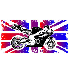 motorbike with great britain flag in background vector image