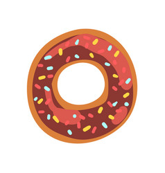 o letter in the shape of sweet glazed cookie vector image