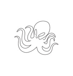 one single line drawing scary octopus vector image