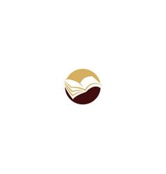 Open book sign education logo vector