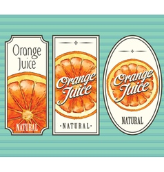 Orange juice labels set vector image