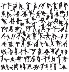 Pair figure skating a set of silhouettes vector