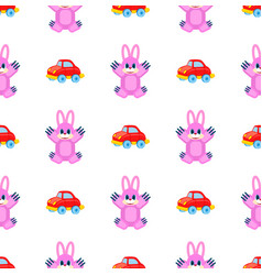 Pink hares and red cars seamless pattern on white vector