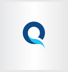 q logo letter blue symbol fresh water icon vector image